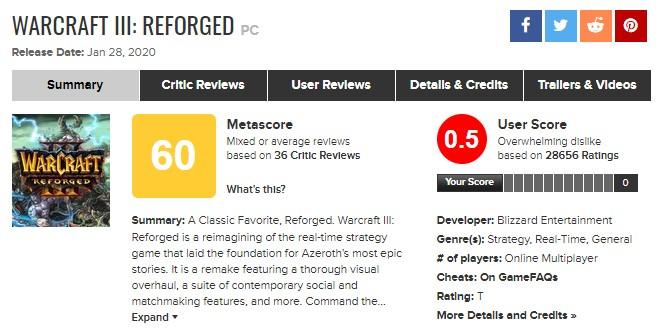 Screenshot: WarCraft 3 Reforged auf Metacritic