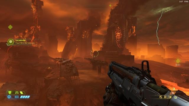 Screenshot: Das Spiel beginnt auf der Erde inmitten einer Invasion von Dämonen