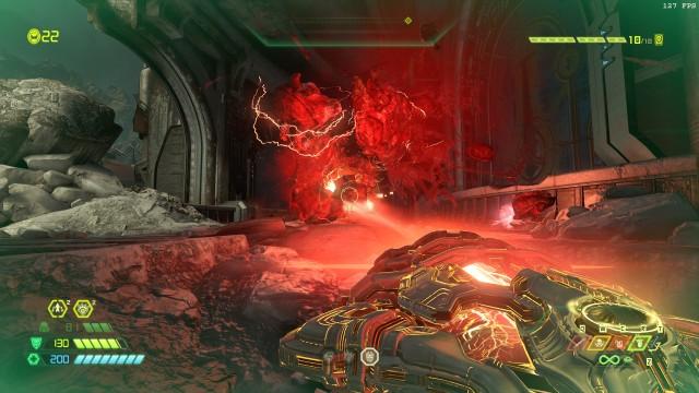 Screenshot: Mit dem Unmakyr und dem Cheatcode für unbegrenzte Munition fühle ich mich endlich wie der übermächtige Slayer, den mir das Spiel ansonsten verkaufen will