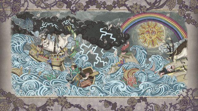 Screenshot: Jedes Kapitel wird von einer Zeichnung in einem ans Mittelalter angelehnten Stil eingeläutet