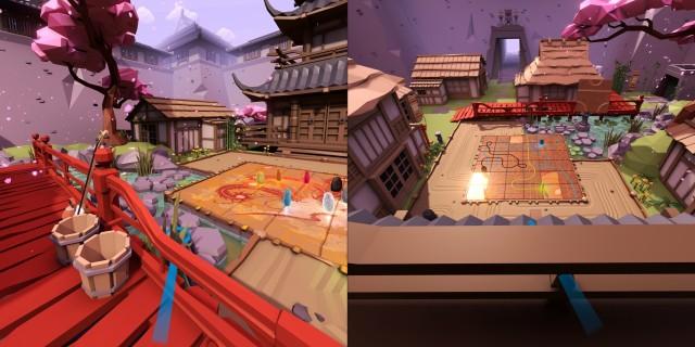 Screenshot: Tsuro VR. Rechts: die Umgebung ist stilsicher, aber etwas klischeehaft. Rechts: Das Spielbrett von oben.