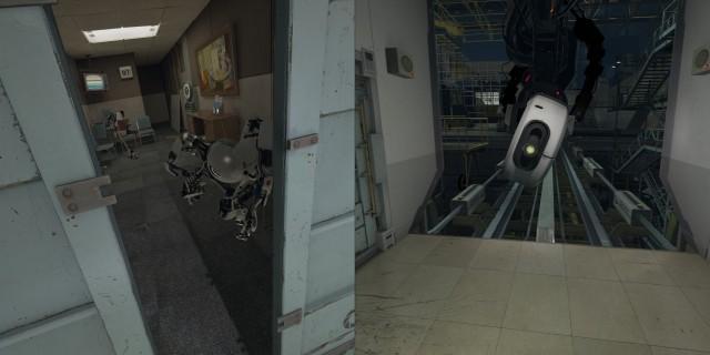 Screenshot: The Lab: Links: man findet Referenzen auf den Multiplayer von Portal 2. Rechts: GLaDOS hat auch einen Auftritt