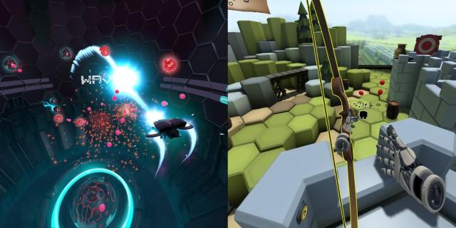 Screenshot: The Lab. Links: ein Arcade Shooter mit Bewegungssteuerung. Rechts: Tower Defence mit Pfeil und Bogen