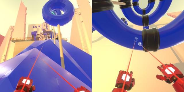 Screenshot: To the Top. Links: an blauen Flächen kann man greifen und sich hoch ziehen. Rechts: Nicht alles sind flache Flächen.