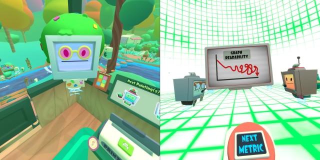 Screenshot: Vacation Simulator. Links: Pop-Kultur Anspielungen findet man zu Hauf. Rechts: mir gefällt der Humor des Spiels.