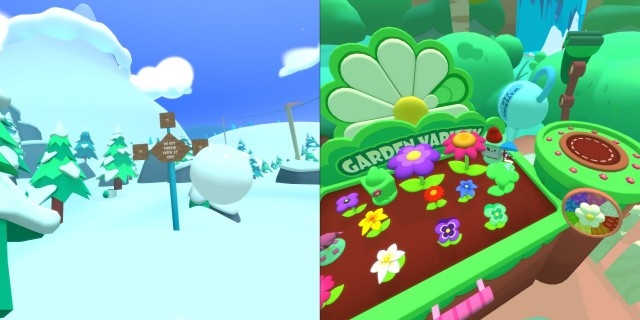 Screenshot: Vacation Simulator. Links: wie kann man bei so einem Schild widerstehen? Rechts: Auch gärtnern ist eines der Minispiele.