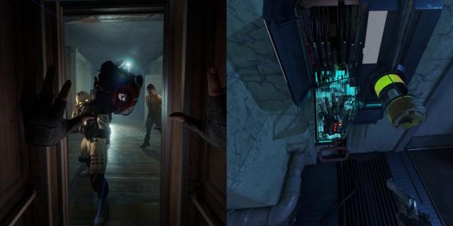 Screenshot: Half-Life: Alyx. Das Spiel ist komplett um Bewegungssteuerung konzipiert, entsprechend prominent sind die eigenen Hände sichtbar.