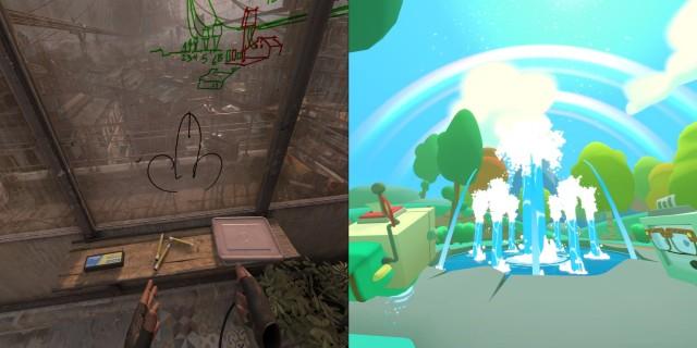 Screenshot: Links: Half-Life: Alxy: Dem Spieler Freiheit geben führt zu erwartbaren Resultaten. Rechts: Im Vacation Simulator gibt es sogar sowas wie Zwischensequenzen.