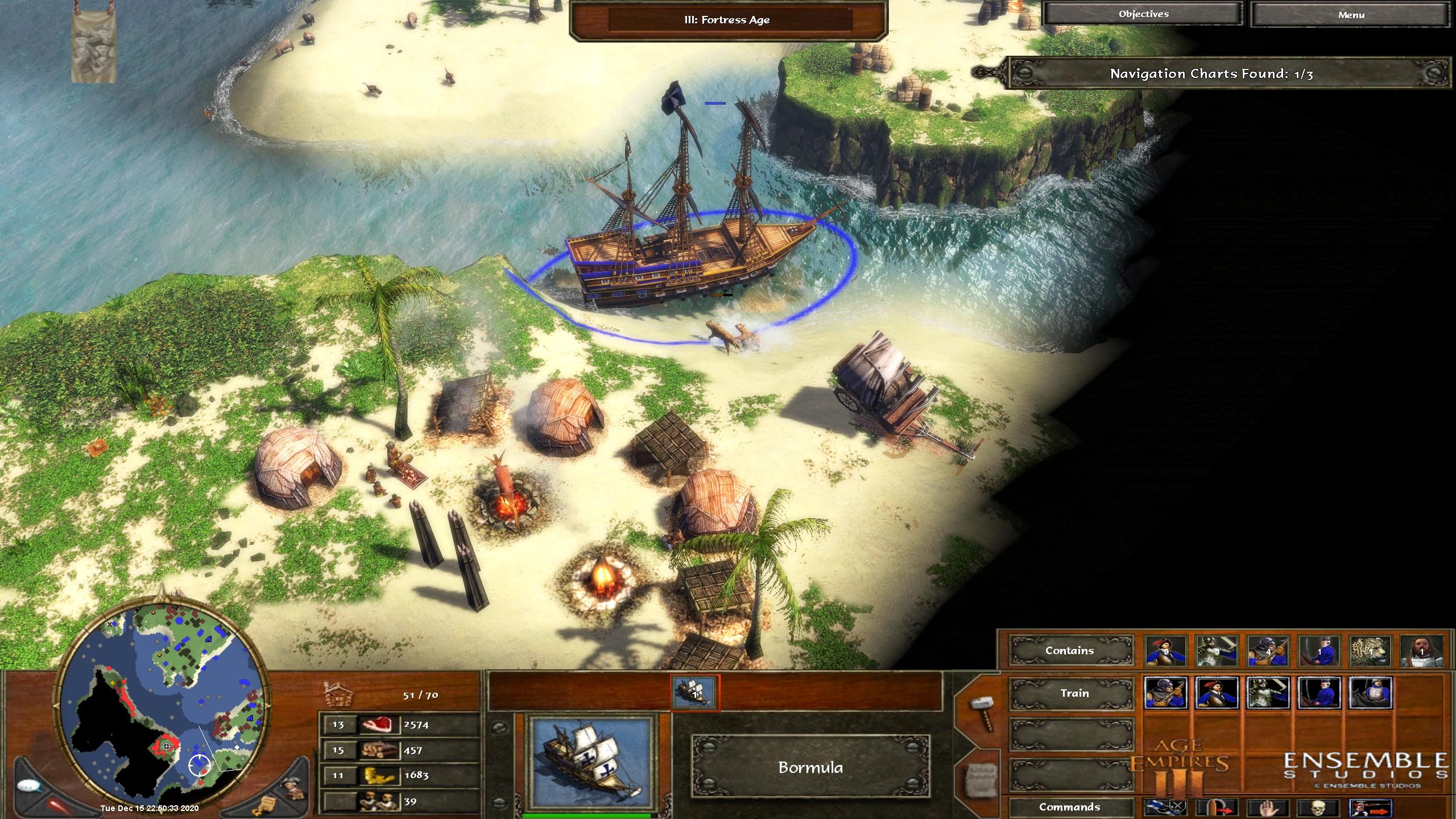 Screenshot: Große Schiffe können auch Einheiten ausbilden. Auch gut zu sehen: die strahlend helle Karibik im Original