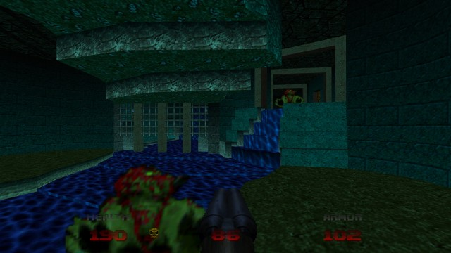 Screenshot: Der Detailgrad der Geometrie in den Level bewegt sich ungefähr auf dem Niveau von Doom 2