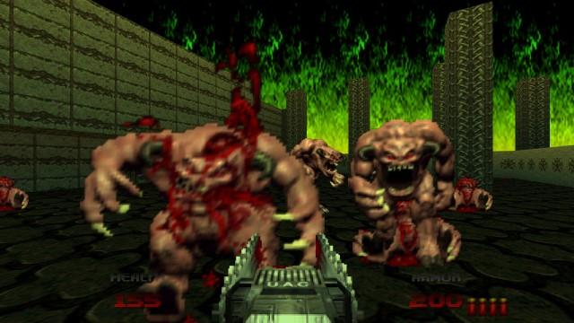 Screenshot: Gegen Gegner wie die Pinky-Dämonen ist die Kettensäge im Nahkampf extrem effektiv