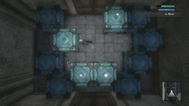 Screenshot: Im ersten Dungeon muss man zahlreiche Kistenrätsel lösen