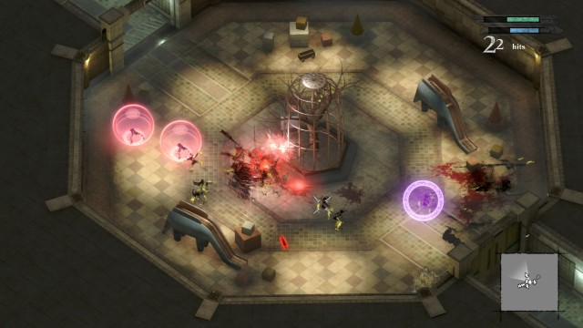 Screenshot: Replicant spielt oft mit  unterschiedlichen Kameraperspektiven, wie hier als Iso-Action-Spiel