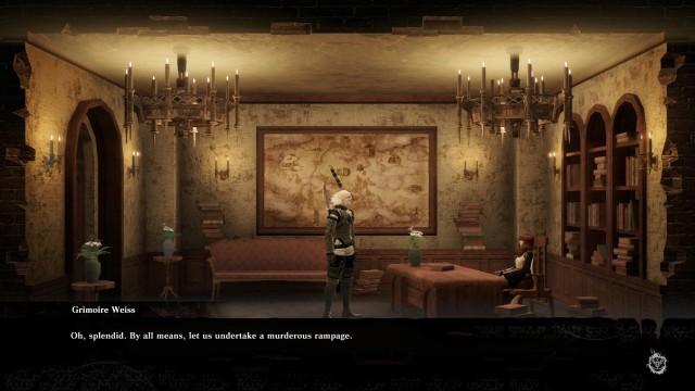 Screenshot: Grimoire Weiss ist nie um einen sarkastischen Spruch verlegen