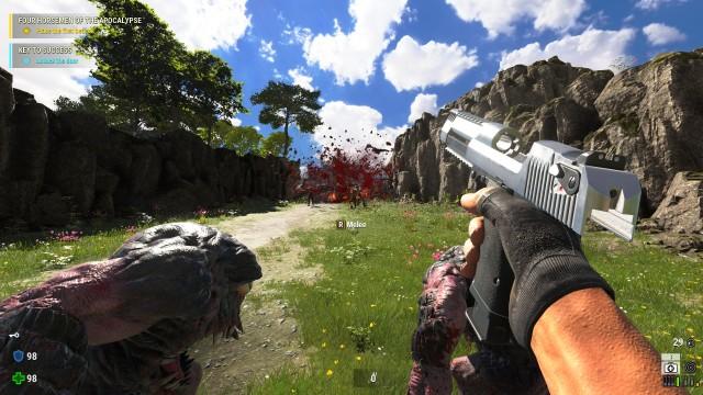Screenshot: Auch beim Einsatz relativ schwacher Waffen zerplatzen die Gegner in ihre Einzelteile