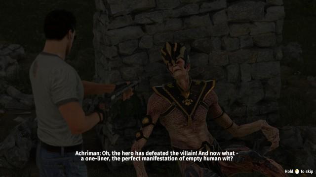 Screenshot: Das Spiel nimmt einige seiner Eigenarten auch selbst aufs Korn