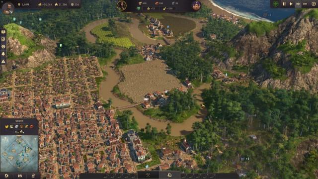 Screenshot: Inseln in der neuen Welt haben viele Flüsse, was es schwierig macht eine große Siedlung aufzubauen