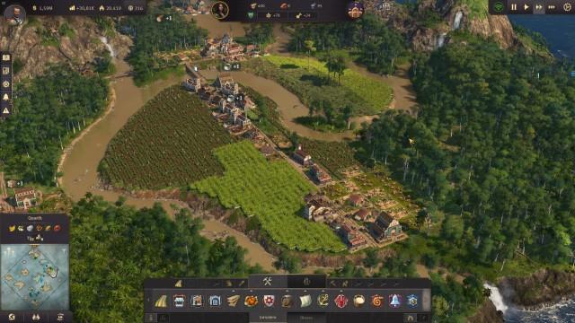 Screenshot: Farmen können durch ihre kleinen 1x1 Felder auch die letzten Ecken ausnutzen