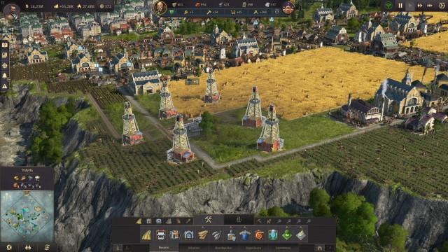Screenshot: Öl-Bohrtürme brauchen keine direkte Straßenanbindung, da kann man auch die Weizenfelder drum herum bauen