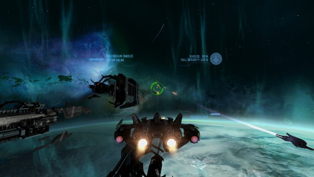 Screenshot: Ein recht kurzer Teil spielt im Weltraum und locker das ansonsten recht dröge Gameplay etwas auf.