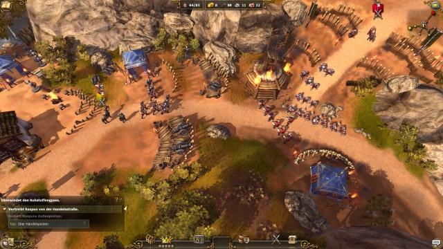 Schlachten laufen in die Siedler 7 in Echtzeit, aber ein wenig vereinfacht wie wie in richtigen Echtzeitstrategiespielen ab