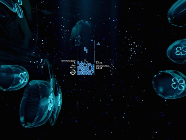 Screenshot: Ein Level aus Tetris Effect in VR