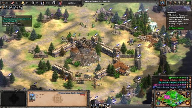 Screenshot: Große Gebäude wie Burgen stürzen eindrucksvoll in sich zusammen.