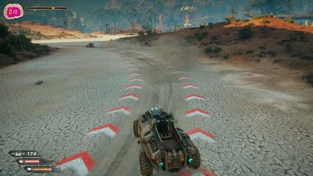 Screenshot: Im Ödland kann man zufällige Rennen fahren um Teile für Fahrzeug Upgrades zu sammeln.