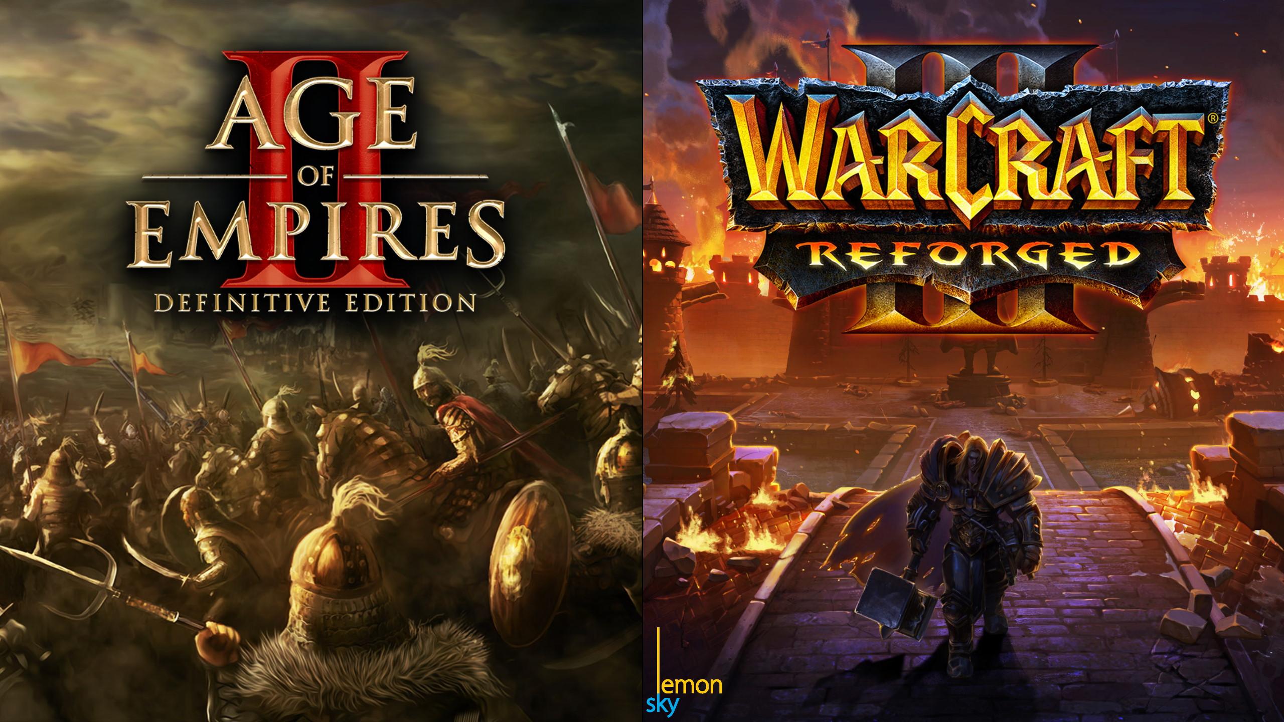 Title. Links: Age of Empires 2 HD Promo. Rechts: Ending Screen Artwort für Blizzcon Demo of WarCraft 3 Reforged von Ken Wong
