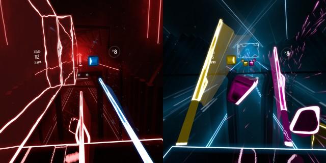 Screenshot: Links: In den ausgefüllten Flächen sollte man nicht stehen. Rechts: In den späteren Levels kommt vieles auf einmal.