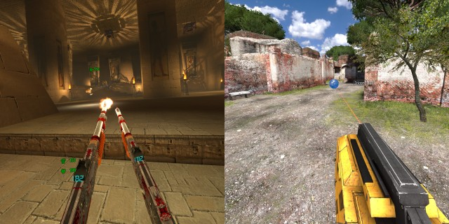Screenshot: Links The First Encounter in VR. Rechts:The Talos Principle in VR.