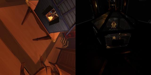 Screenshot: Links: Im Modell kann sich selbst sehen, oder zumindest seine Rückseite. Rechts: Im letzten Rätsel wird die Rekursion der Spielwelt auf die Spitze getrieben.