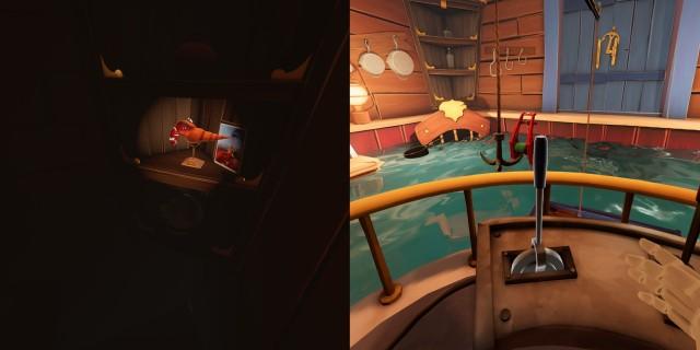 Screenshot: Links: Nebencharaktere wie die Krabben werden schön in Szene gesetzt. Rechts: Das physikbasiert Kran-Minispiel ist eher nervig.