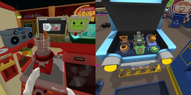 Screenshot: Links: Als Koch Hähnchenschlegel und Schnitzen in den Mixer werfen - warum auch nicht? Rechts: Der Motor eines Autos ist stark vereinfacht.