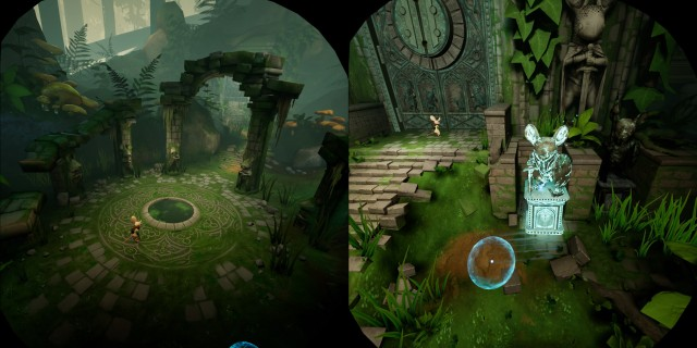 Screenshot: Links: Moss auf der Oculus Rift S. Rechts: Dank des besseren Trackings funktionieren die Motion Controls viel besser.