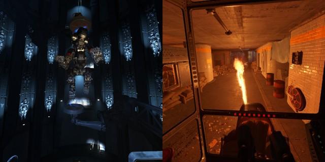 Screenshot: Links: In der Werkstatt muss man sein Gefährt erst vorbereiten. Rechts: Die Lichteffekte können sich sehen lassen.
