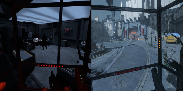 Screenshot: Links: Mit der Drone muss man Vorsichtig vorgehen. Rechts: Die Zitadelle hat allein durch ihre Minigun enorme Feuerkraft.