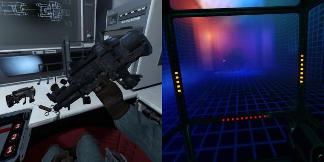 Screenshot: Links: Zwischen den Missionen muss man sich als Mechaniker verdingen. Rechts: Vor einer Mission spielt man eine kurze, schicke Simulation, in der die wichtigsten Dinge der aktuellen Maschine erklärt.